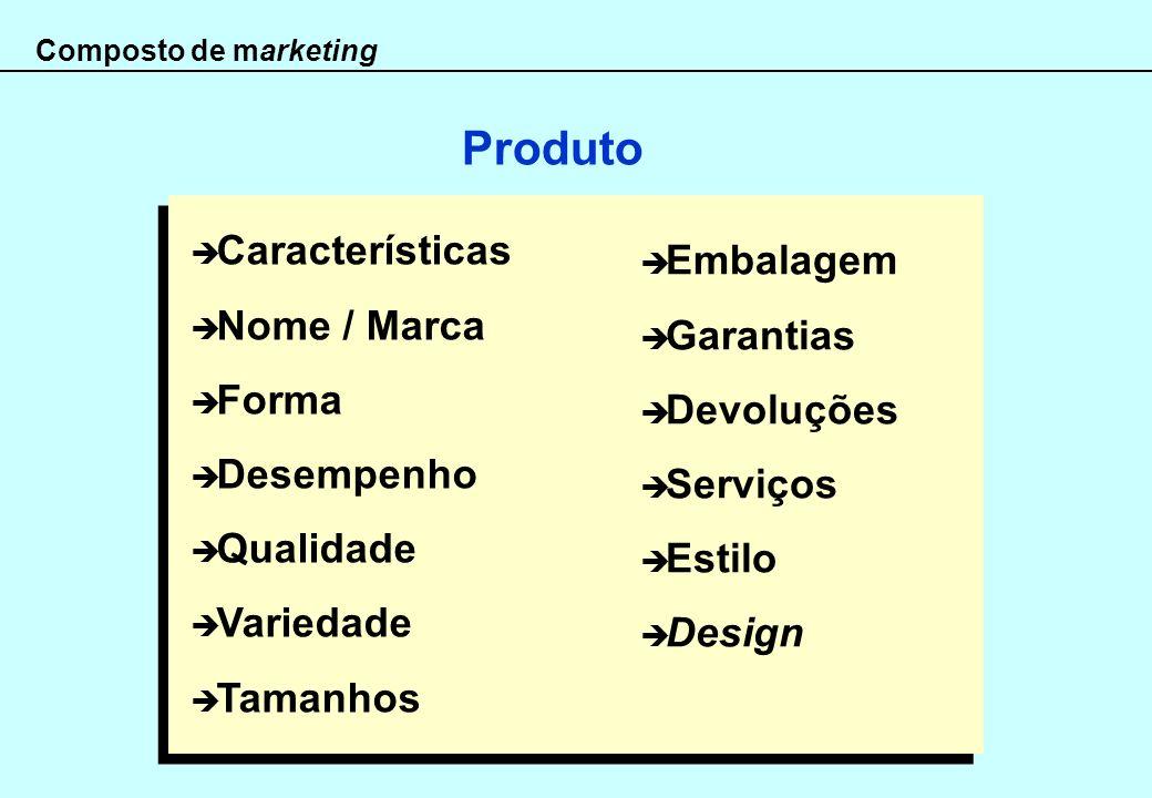 Produto Características Embalagem Nome / Marca Garantias Forma