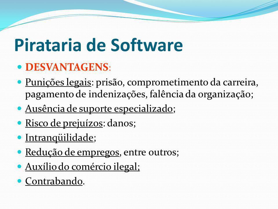 Pirataria de Software DESVANTAGENS: