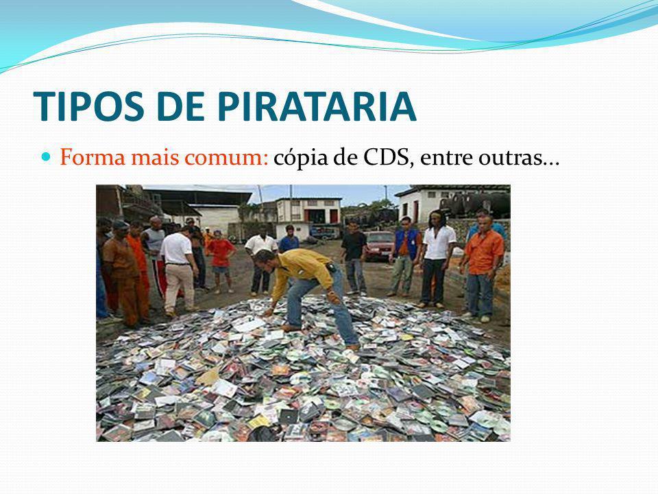 TIPOS DE PIRATARIA Forma mais comum: cópia de CDS, entre outras...
