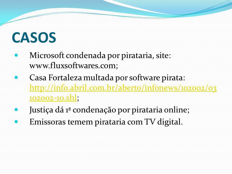 CASOS Microsoft condenada por pirataria, site: www.fluxsoftwares.com;
