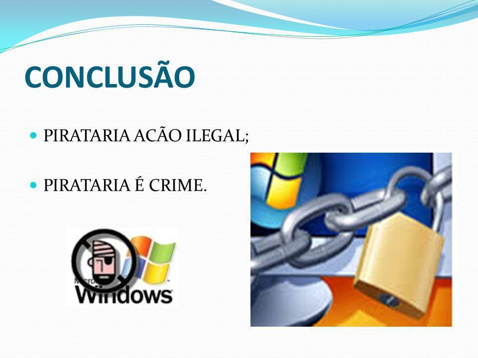 CONCLUSÃO PIRATARIA ACÃO ILEGAL; PIRATARIA É CRIME.