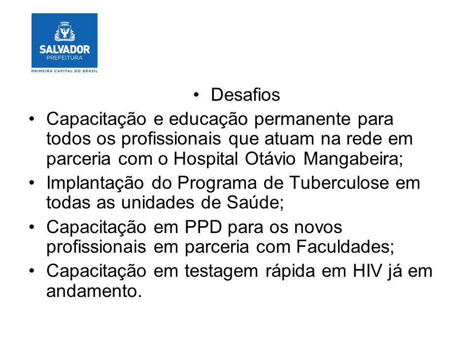 Desafios Capacitação e educação permanente para todos os profissionais que atuam na rede em parceria com o Hospital Otávio Mangabeira;
