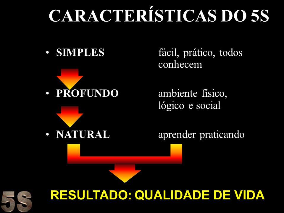 CARACTERÍSTICAS DO 5S RESULTADO: QUALIDADE DE VIDA