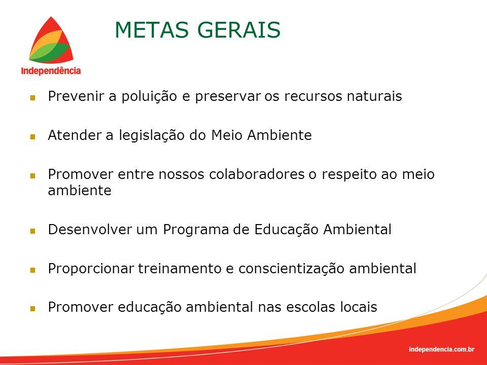 METAS GERAIS Prevenir a poluição e preservar os recursos naturais