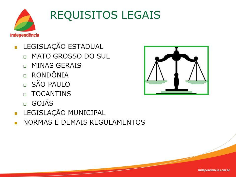 REQUISITOS LEGAIS LEGISLAÇÃO ESTADUAL MATO GROSSO DO SUL MINAS GERAIS