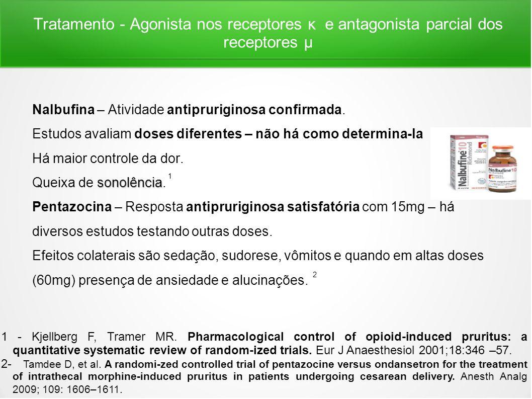 Tratamento - Agonista nos receptores κ e antagonista parcial dos receptores μ