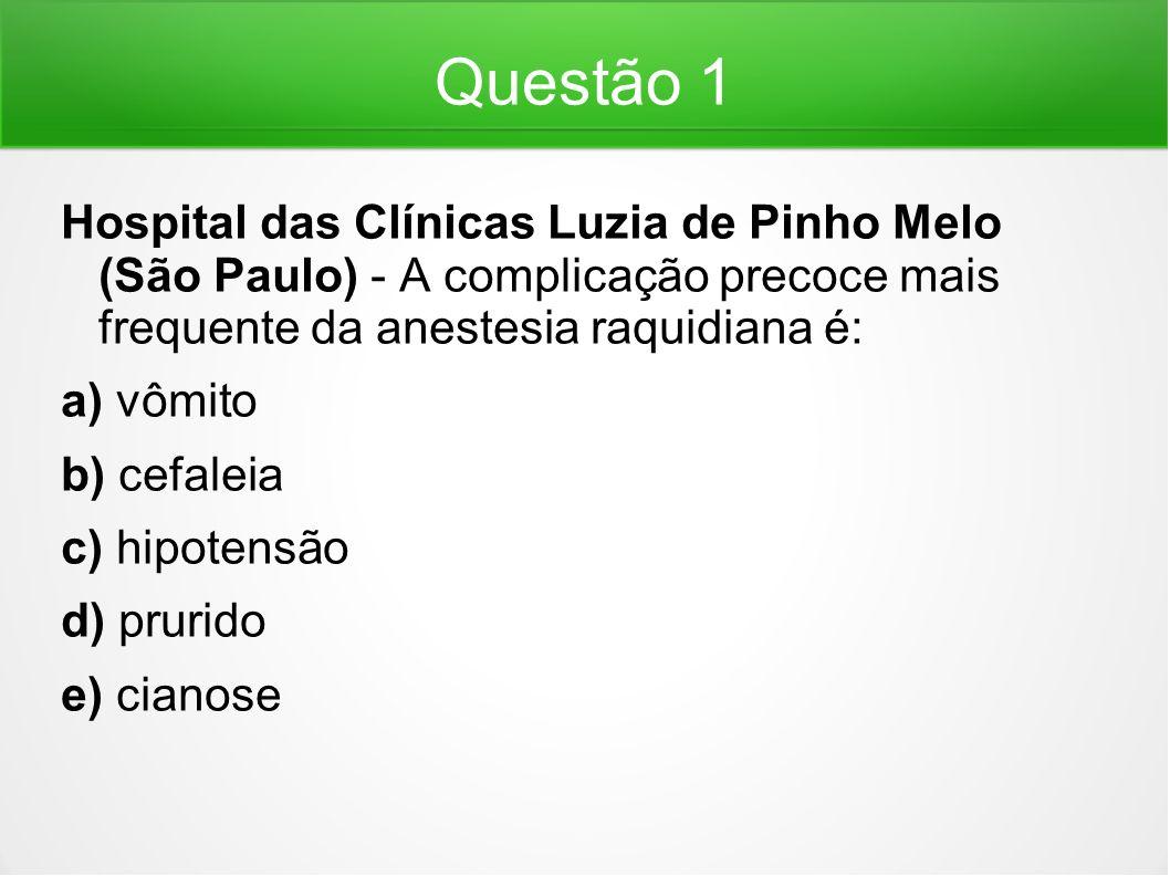 Questão 1 Hospital das Clínicas Luzia de Pinho Melo (São Paulo) - A complicação precoce mais frequente da anestesia raquidiana é: