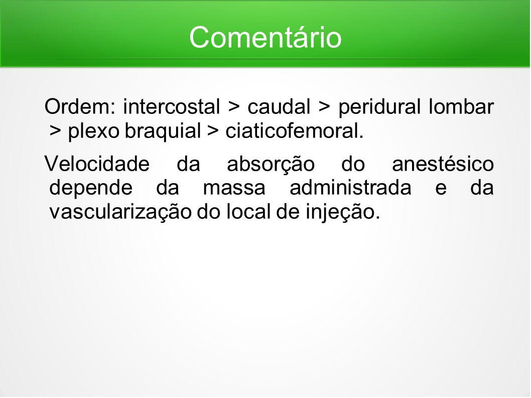 Comentário Ordem: intercostal > caudal > peridural lombar > plexo braquial > ciaticofemoral.