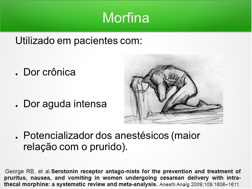 Morfina Utilizado em pacientes com: Dor crônica Dor aguda intensa