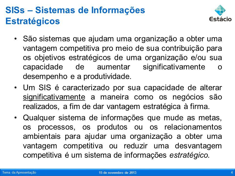 SISs – Sistemas de Informações Estratégicos