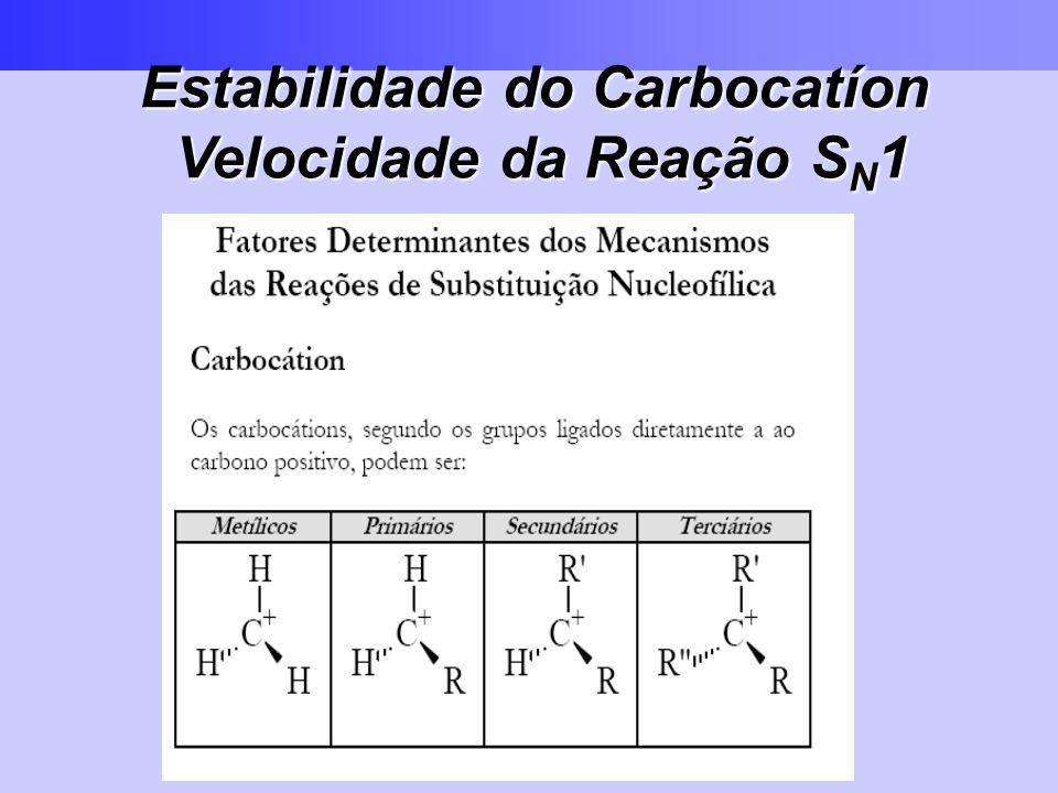 Estabilidade do Carbocatíon Velocidade da Reação SN1