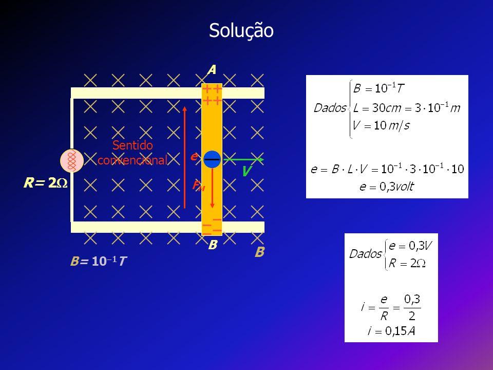 Solução A B V R= 2 B= 101T e FM Sentido convencional