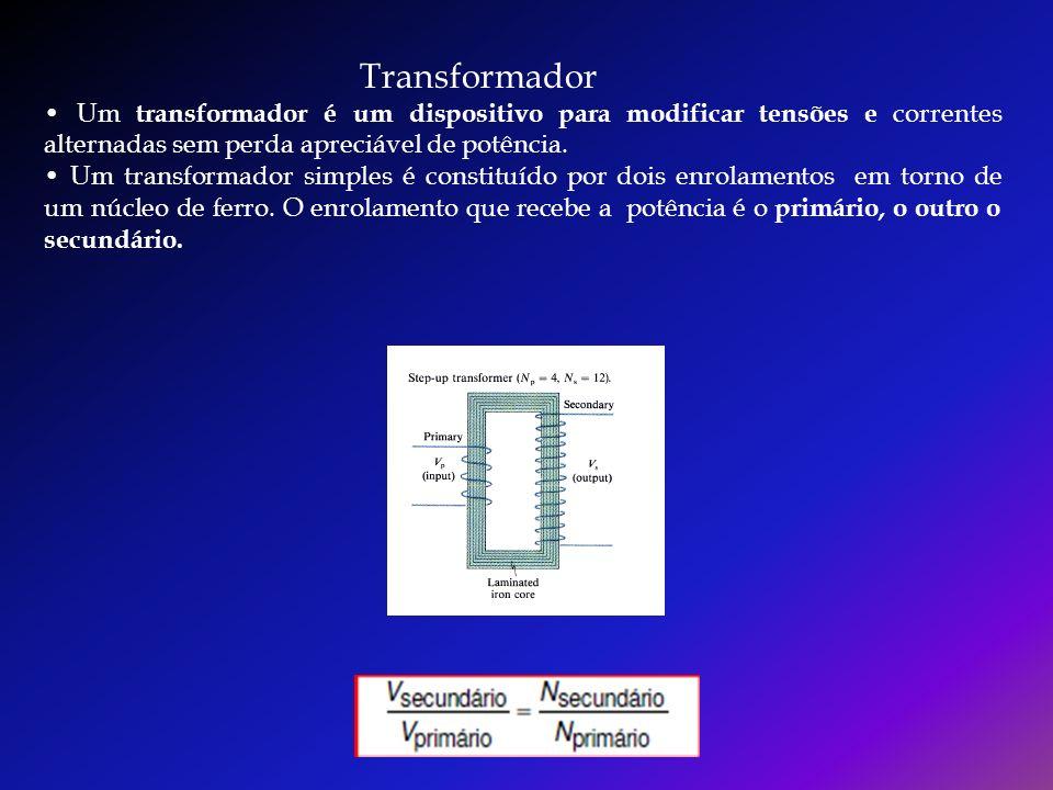 Transformador • Um transformador é um dispositivo para modificar tensões e correntes alternadas sem perda apreciável de potência.