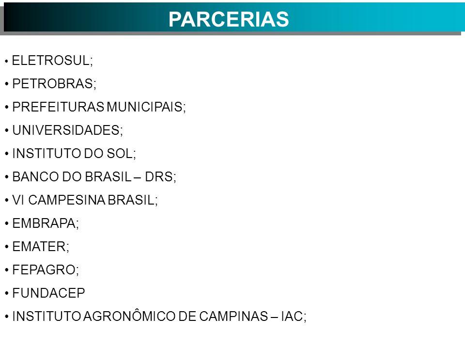 PARCERIAS PETROBRAS; PREFEITURAS MUNICIPAIS; UNIVERSIDADES;
