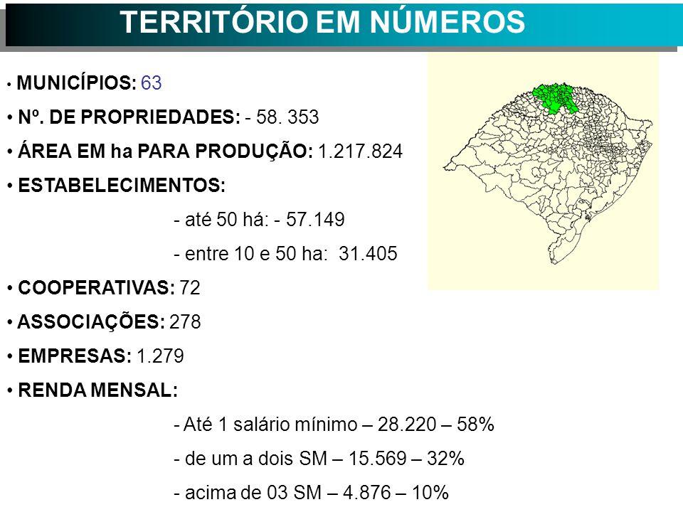 TERRITÓRIO EM NÚMEROS Nº. DE PROPRIEDADES: - 58. 353