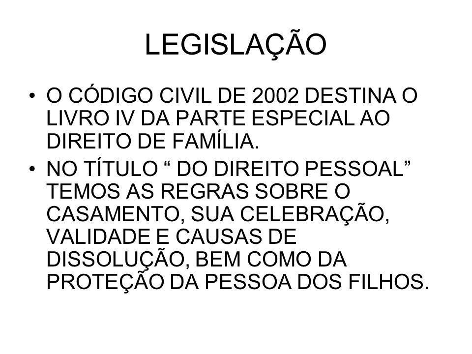 LEGISLAÇÃO O CÓDIGO CIVIL DE 2002 DESTINA O LIVRO IV DA PARTE ESPECIAL AO DIREITO DE FAMÍLIA.