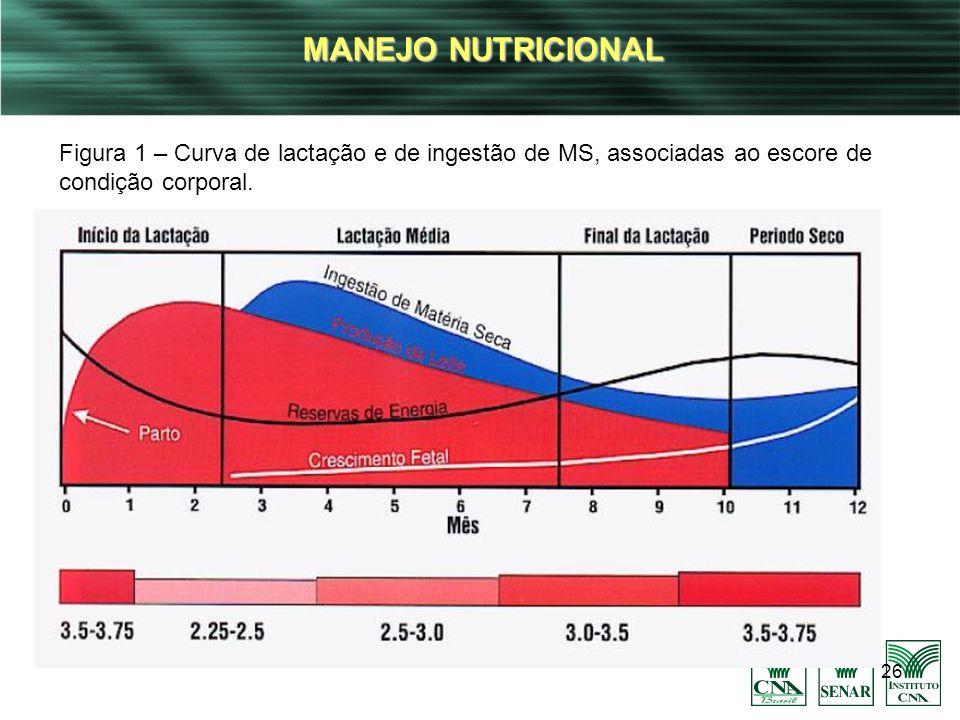 MANEJO NUTRICIONAL Figura 1 – Curva de lactação e de ingestão de MS, associadas ao escore de condição corporal.