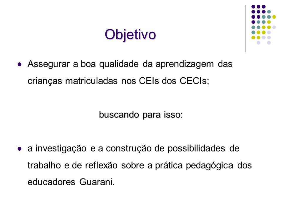 Objetivo Assegurar a boa qualidade da aprendizagem das crianças matriculadas nos CEIs dos CECIs; buscando para isso: