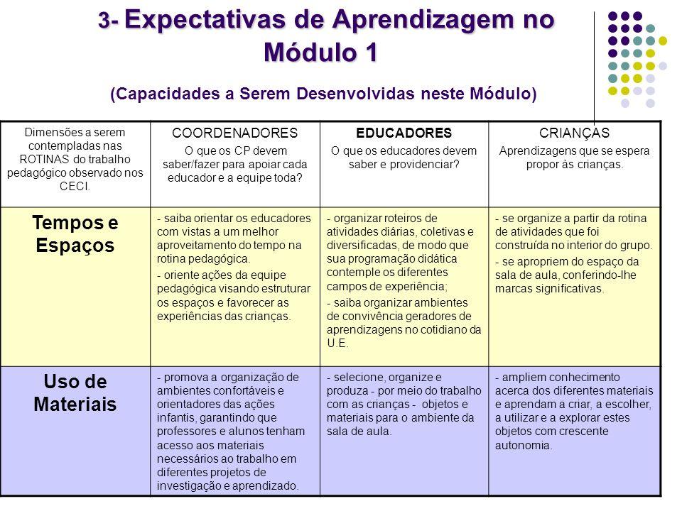 3- Expectativas de Aprendizagem no Módulo 1 (Capacidades a Serem Desenvolvidas neste Módulo)