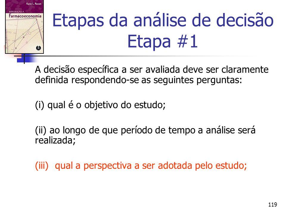 Etapas da análise de decisão Etapa #1