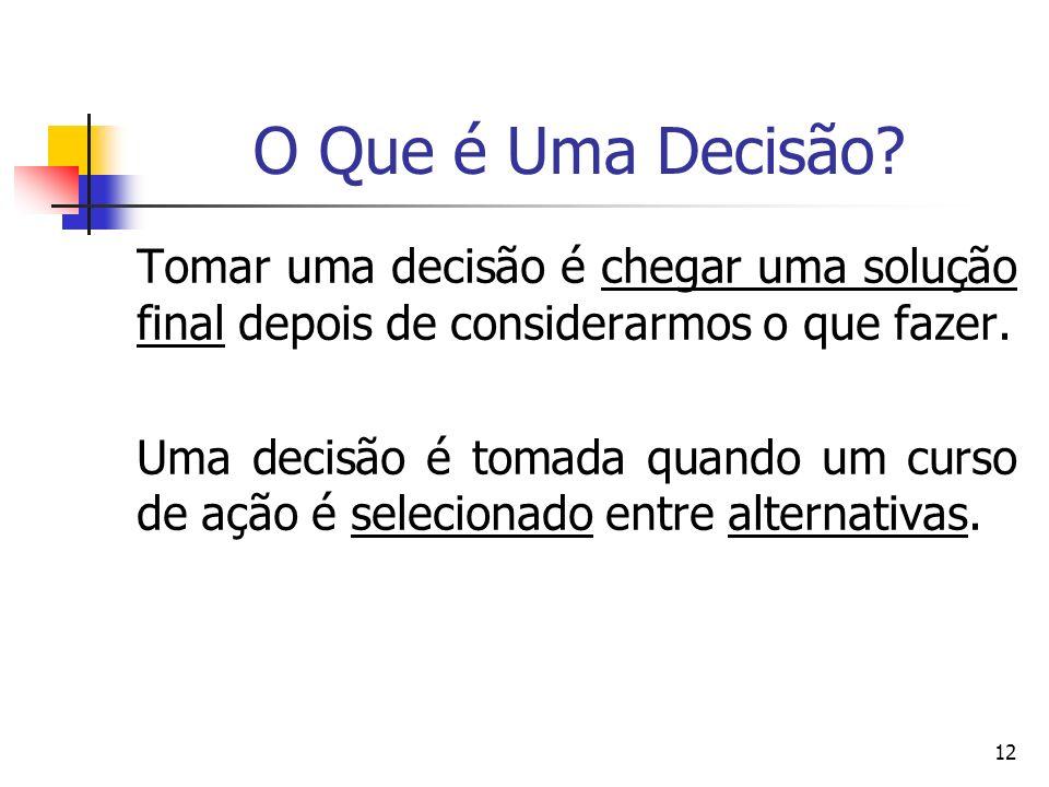 O Que é Uma Decisão Tomar uma decisão é chegar uma solução final depois de considerarmos o que fazer.