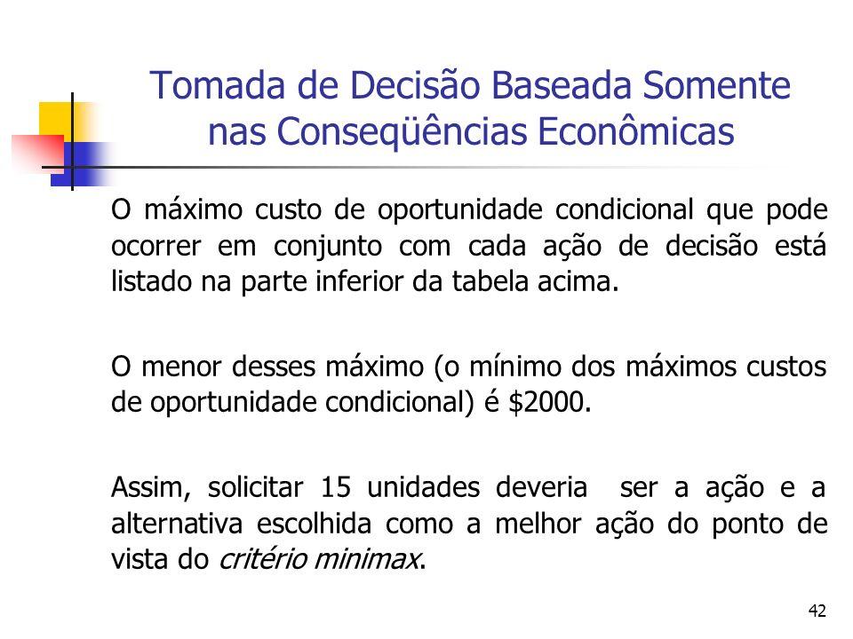Tomada de Decisão Baseada Somente nas Conseqüências Econômicas