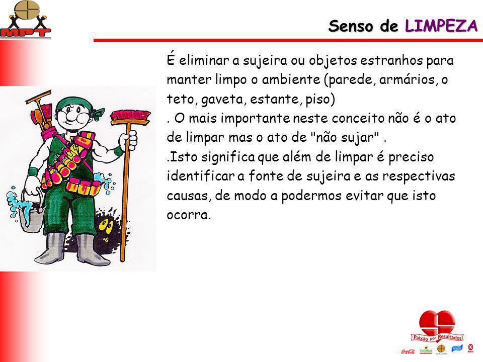 Senso de LIMPEZA É eliminar a sujeira ou objetos estranhos para manter limpo o ambiente (parede, armários, o teto, gaveta, estante, piso)