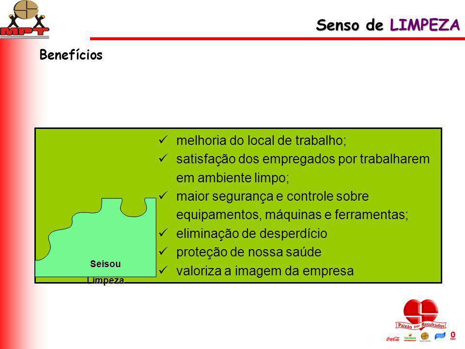 Senso de LIMPEZA Benefícios melhoria do local de trabalho;