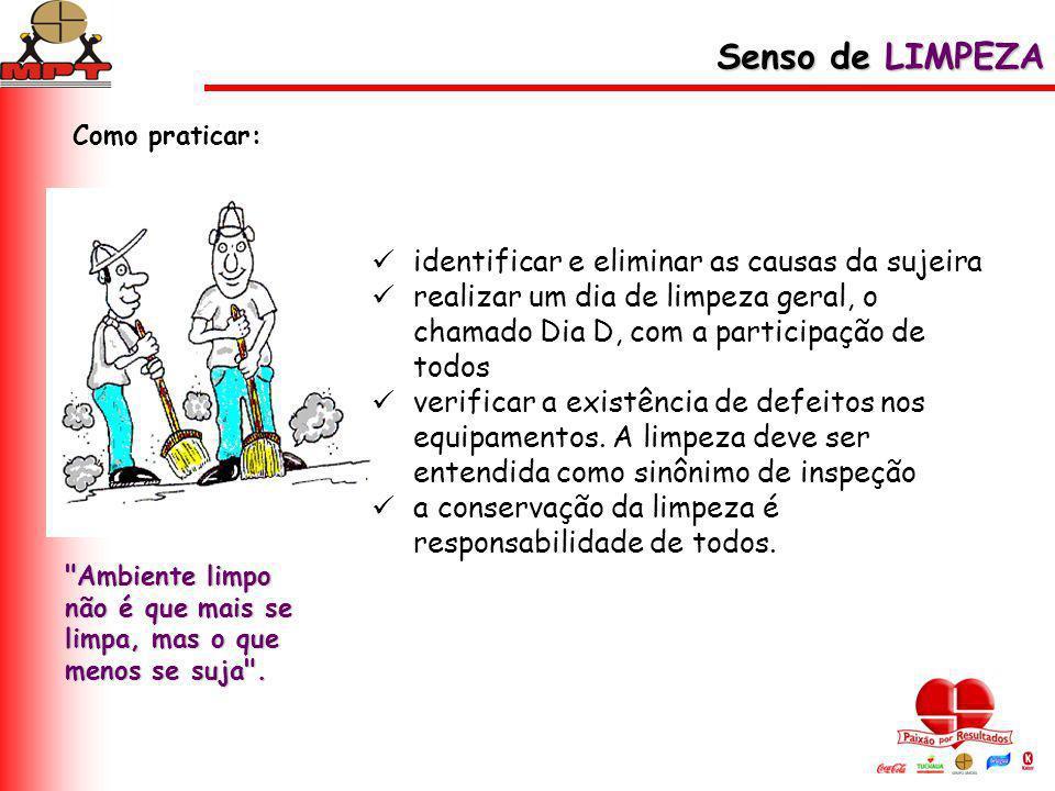Senso de LIMPEZA identificar e eliminar as causas da sujeira