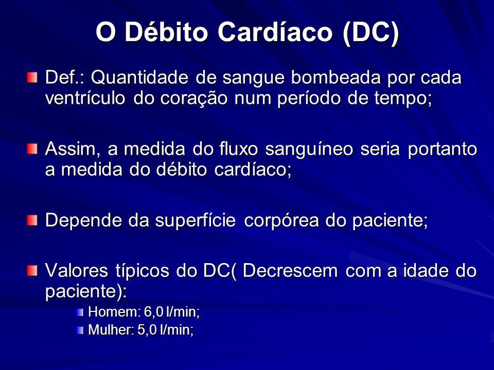 O Débito Cardíaco (DC) Def.: Quantidade de sangue bombeada por cada ventrículo do coração num período de tempo;