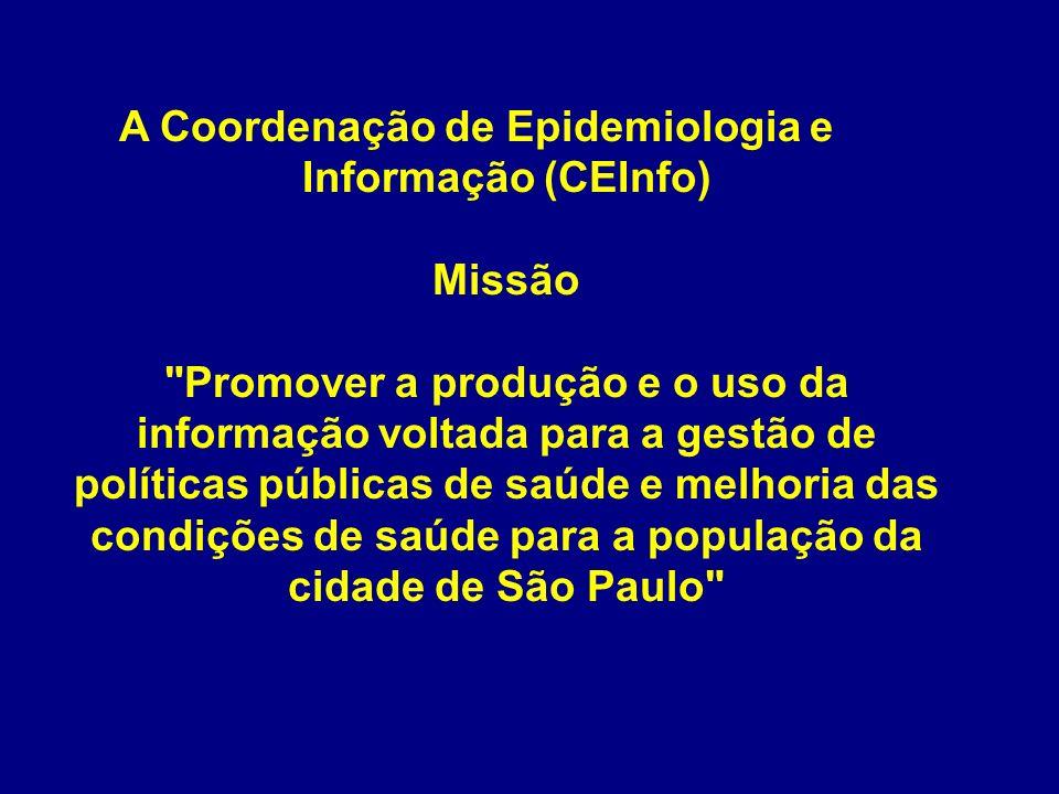 A Coordenação de Epidemiologia e Informação (CEInfo) Missão Promover a produção e o uso da informação voltada para a gestão de políticas públicas de saúde e melhoria das condições de saúde para a população da cidade de São Paulo