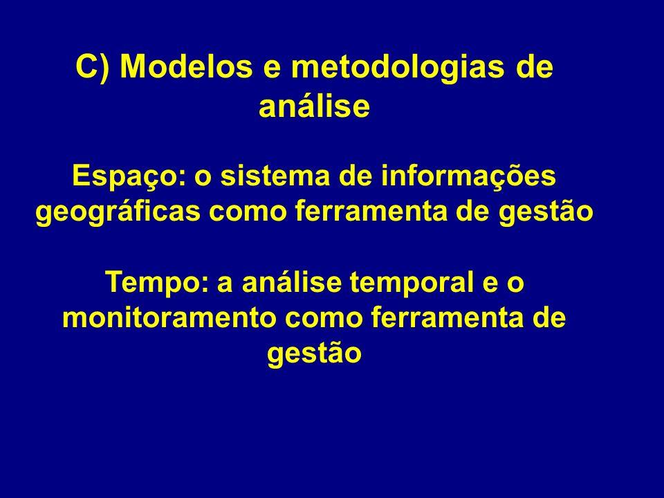 C) Modelos e metodologias de análise Espaço: o sistema de informações geográficas como ferramenta de gestão Tempo: a análise temporal e o monitoramento como ferramenta de gestão