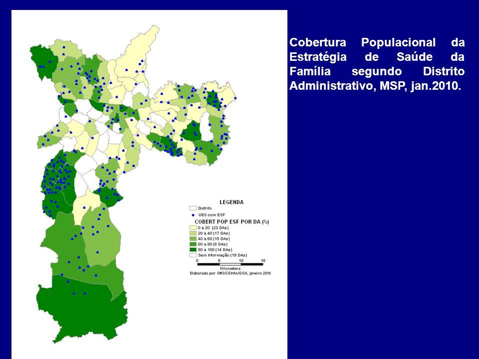 Cobertura Populacional da Estratégia de Saúde da Família segundo Distrito Administrativo, MSP, jan.2010.