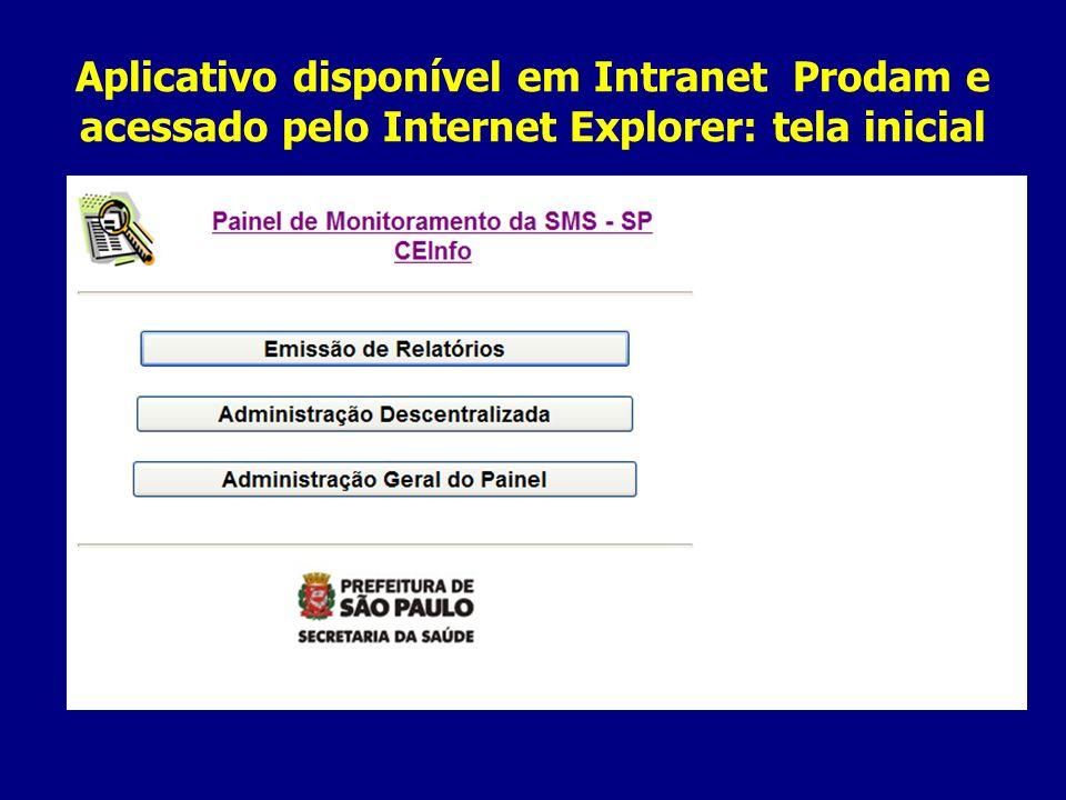 Aplicativo disponível em Intranet Prodam e acessado pelo Internet Explorer: tela inicial