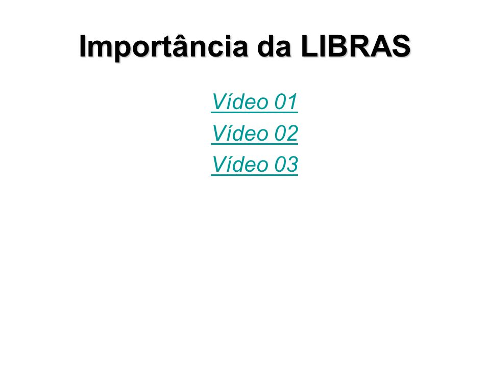 Importância da LIBRAS Vídeo 01 Vídeo 02 Vídeo 03
