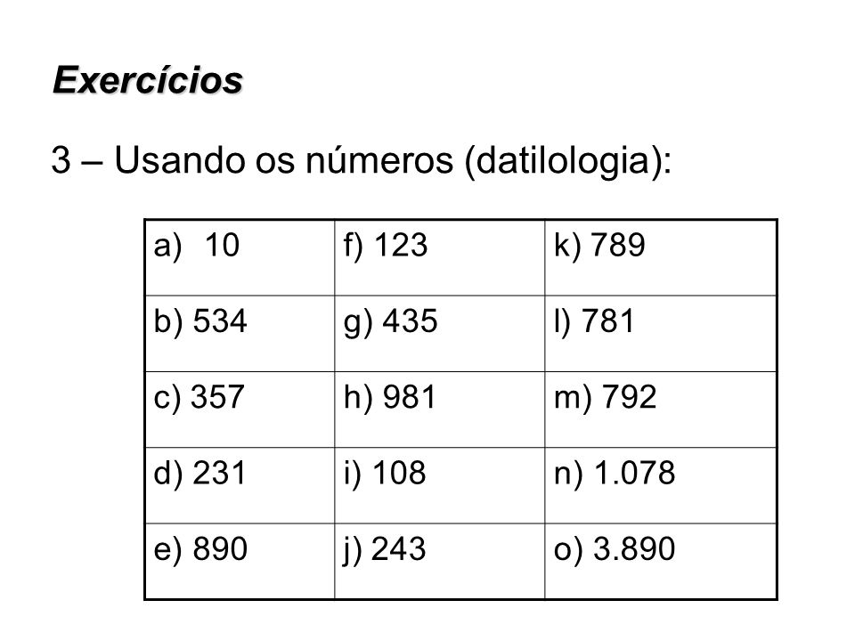3 – Usando os números (datilologia):
