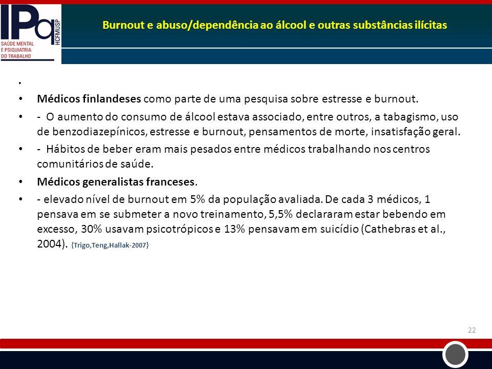 Burnout e abuso/dependência ao álcool e outras substâncias ilícitas