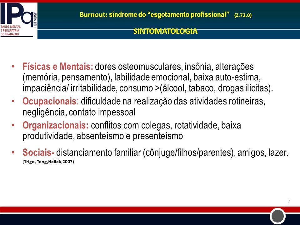 Burnout: síndrome do esgotamento profissional (Z. 73