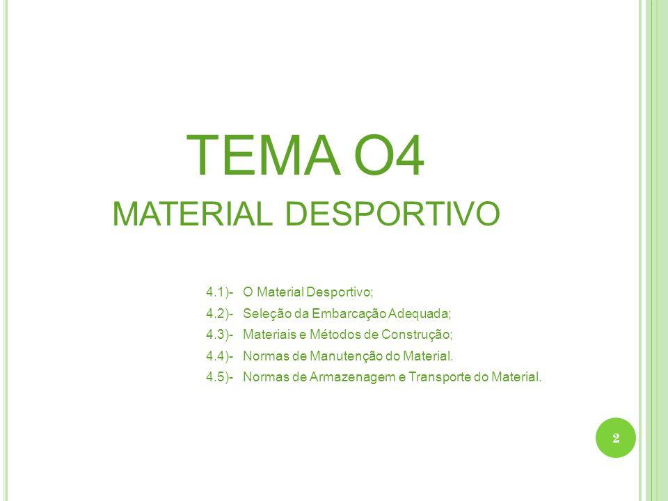 TEMA O4 MATERIAL DESPORTIVO 4.1)- O Material Desportivo;