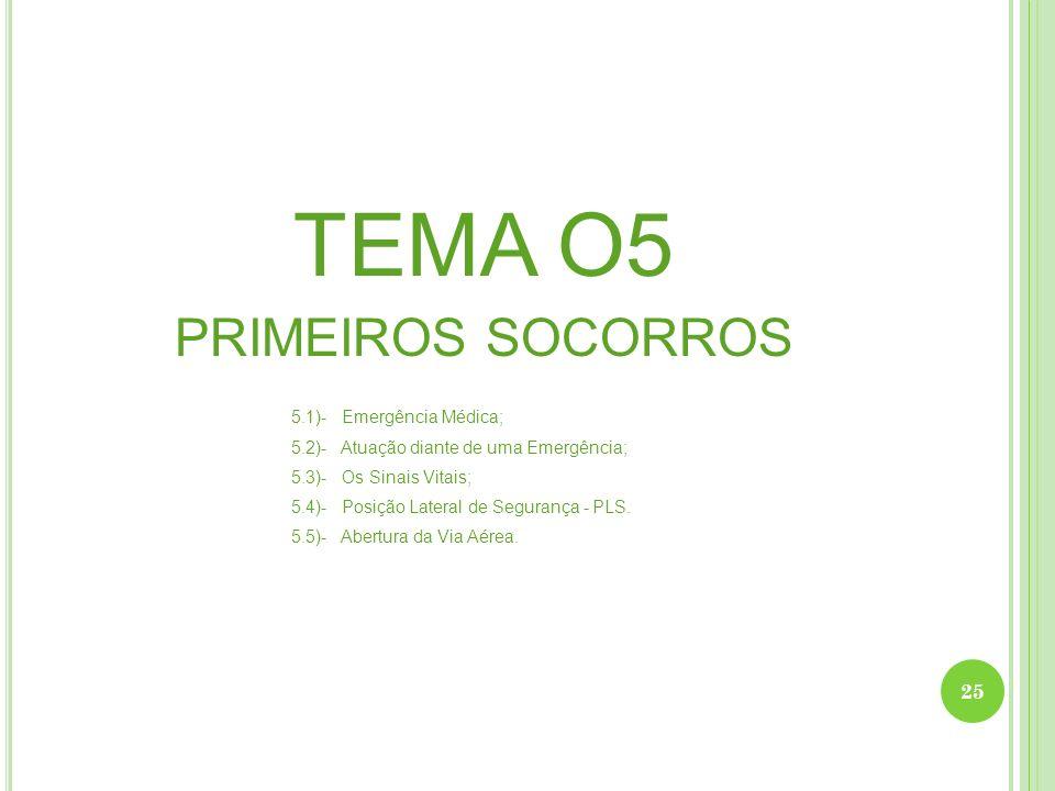 TEMA O5 PRIMEIROS SOCORROS 5.1)- Emergência Médica;