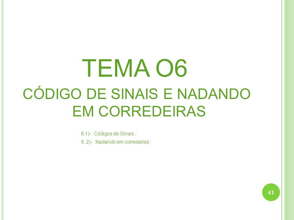 CÓDIGO DE SINAIS E NADANDO EM CORREDEIRAS