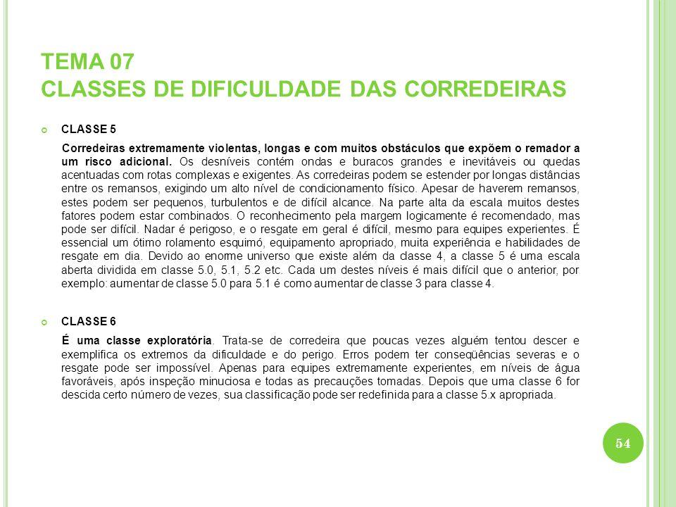 TEMA 07 CLASSES DE DIFICULDADE DAS CORREDEIRAS