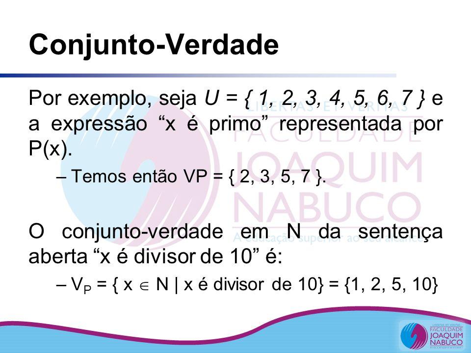 Conjunto-Verdade Por exemplo, seja U = { 1, 2, 3, 4, 5, 6, 7 } e a expressão x é primo representada por P(x).