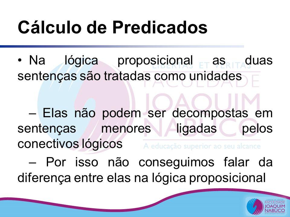 Cálculo de Predicados Na lógica proposicional as duas sentenças são tratadas como unidades.