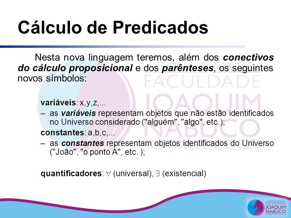 Cálculo de Predicados Nesta nova linguagem teremos, além dos conectivos do cálculo proposicional e dos parênteses, os seguintes novos símbolos: