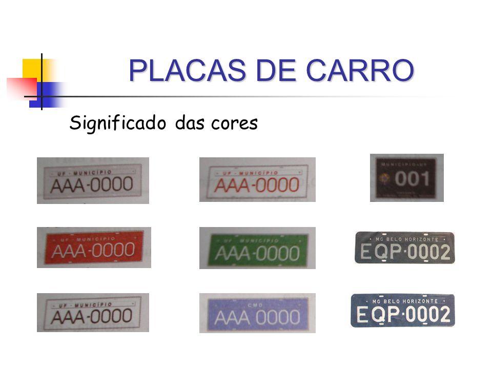 PLACAS DE CARRO Significado das cores