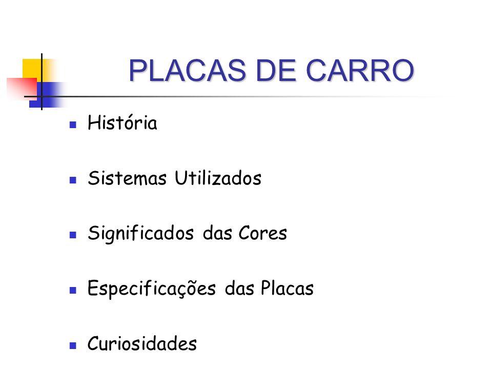 PLACAS DE CARRO História Sistemas Utilizados Significados das Cores