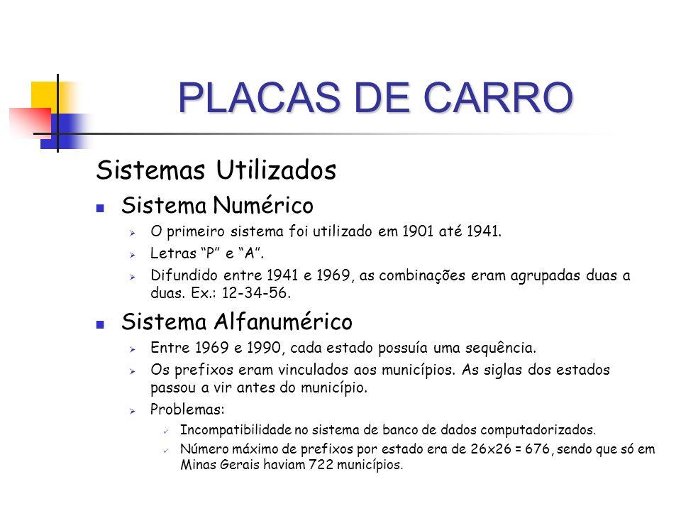 PLACAS DE CARRO Sistemas Utilizados Sistema Numérico