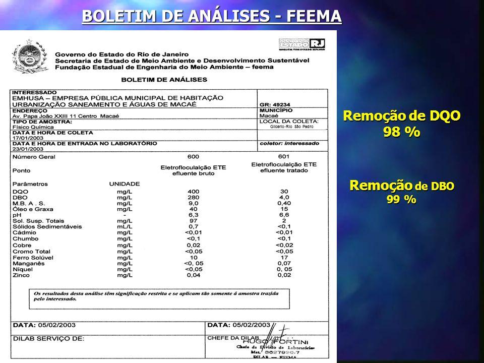 BOLETIM DE ANÁLISES - FEEMA