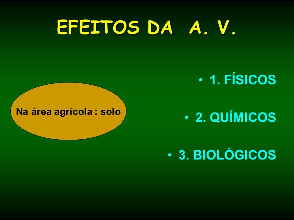 EFEITOS DA A. V. 1. FÍSICOS 2. QUÍMICOS 3. BIOLÓGICOS
